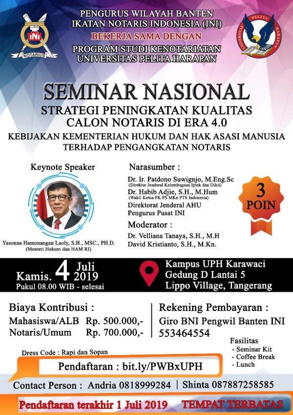 Seminar Nasional: Strategi Peningkatan Kualitas Calon Notaris Di Era 4.0