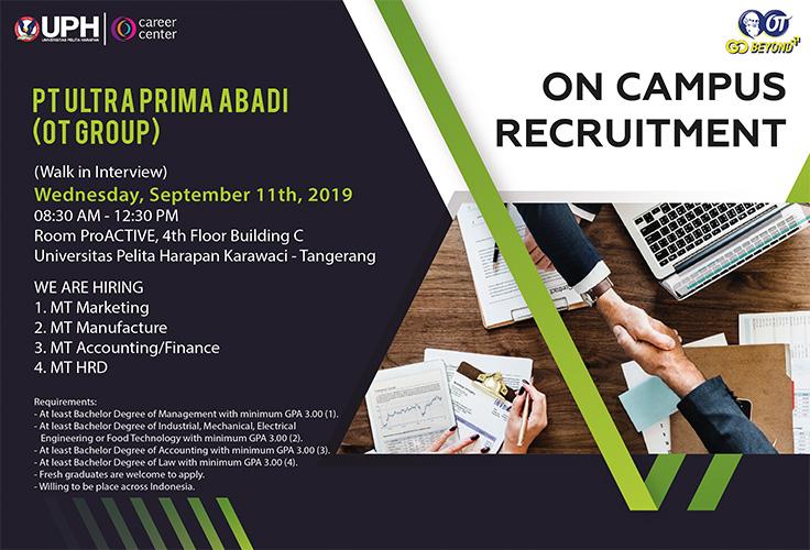 On Campus Recruitment: PT Ultra Prima Abadi