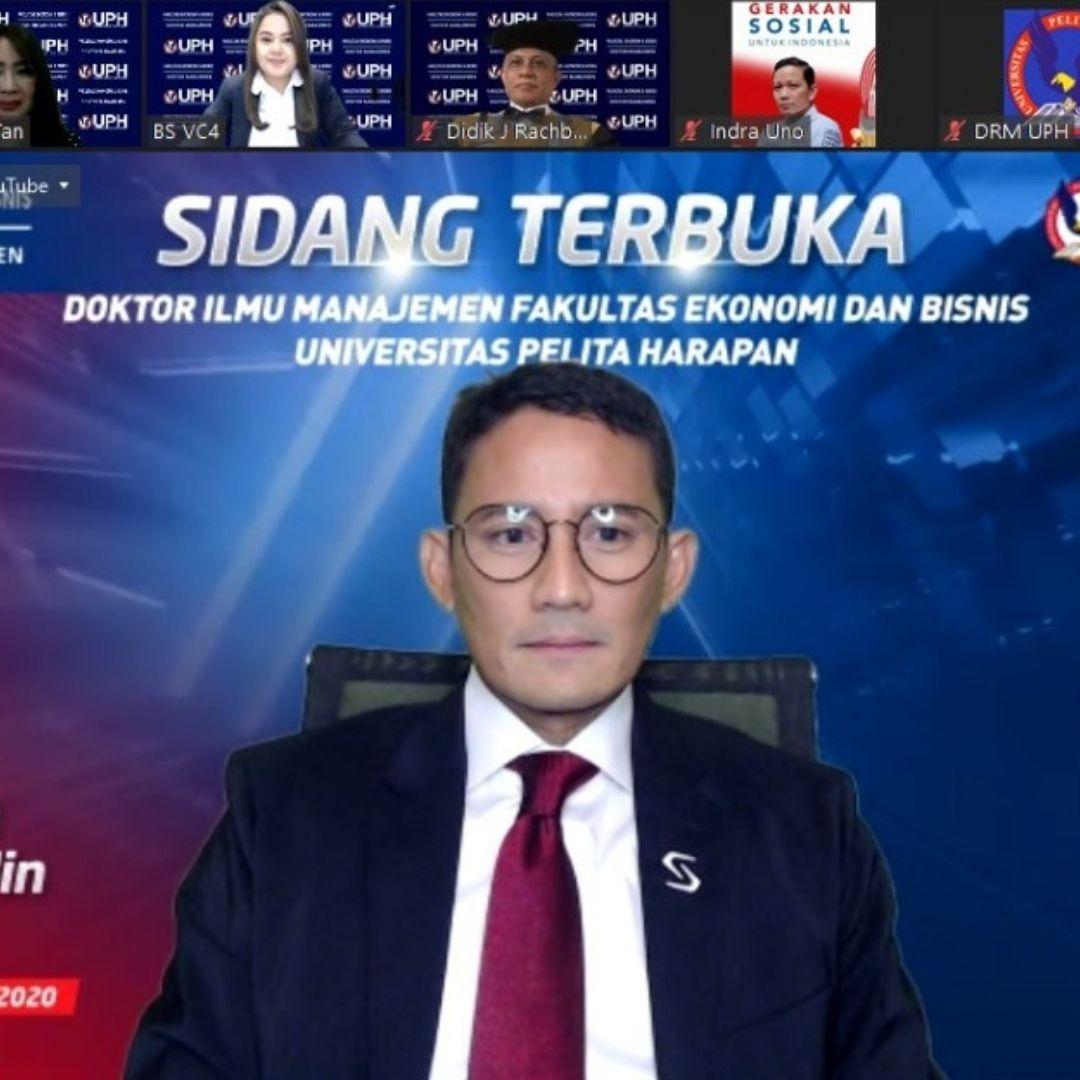 Resmi Menjadi Doctor of Research in Management UPH, Sandiaga Uno Ajak Masyarakat Kawal Transformasi BUMN
