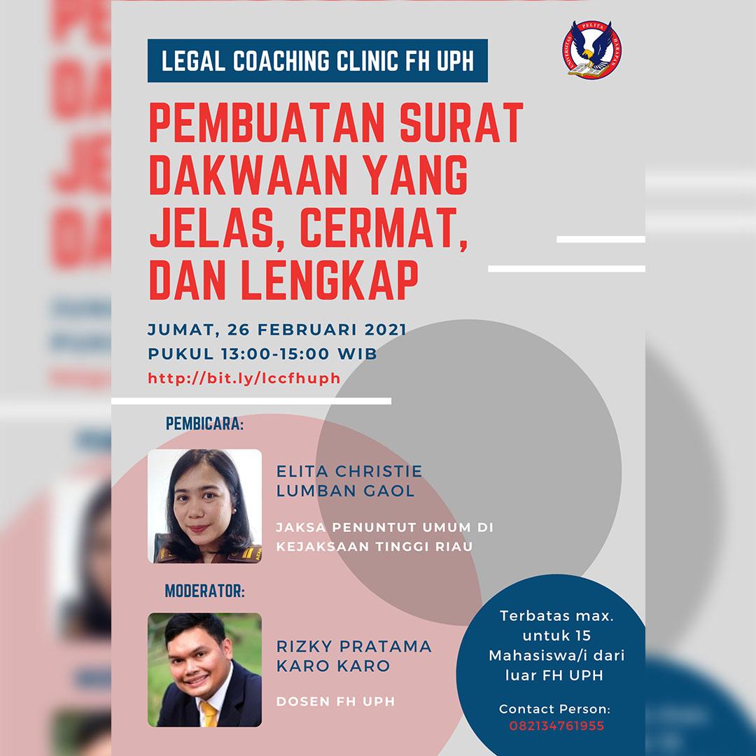 Legal Coaching Clinic FH UPH: Pembuatan Surat Dakwaan yang Jelas, Cermat, dan Lengkap