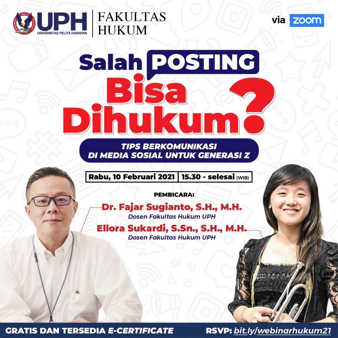 Webinar Hukum UPH: Salah Posting Bisa Dihukum?