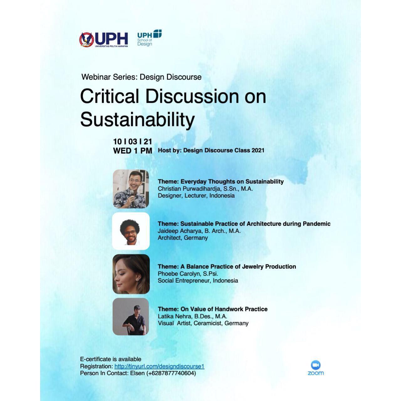 Webinar Desain: Critical Discussion on Sustainability