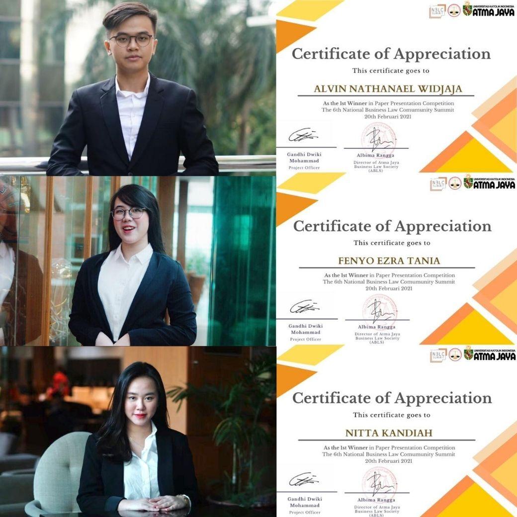 Terus Berprestasi! Mahasiswa FH UPH Juara Pertama National Business Law Community Summit 2021