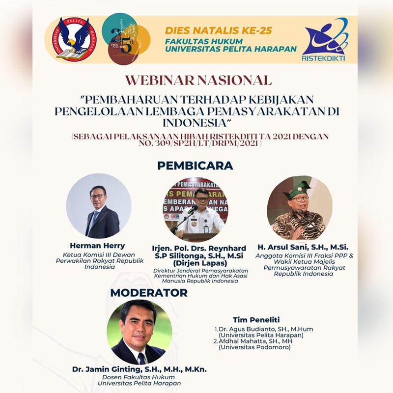 """Dies Natalis FH UPH 25 – """"Pembaharuan Terhadap Kebijakan Pengelolaan Lembaga Kemasyarakatan di Indonesia"""""""